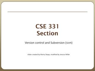 CSE 331 Section