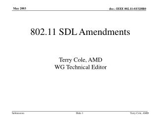 802.11 SDL Amendments