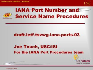 IANA Port Number and Service Name Procedures