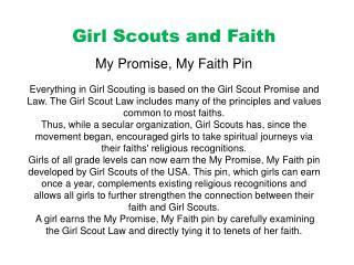 Girl Scouts and Faith My  Promise, My Faith  Pin