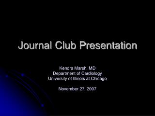 Journal Club Presentation