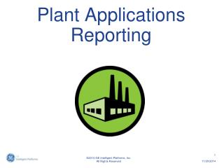 Plant Applications Reporting