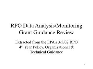RPO Data Analysis/Monitoring  Grant Guidance Review