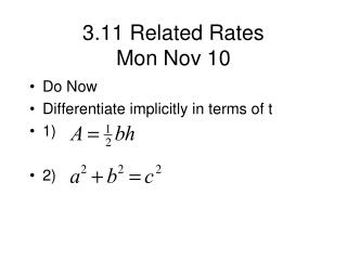 3.11 Related Rates Mon Nov 10