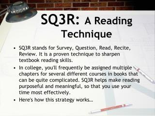SQ3R:  A Reading Technique