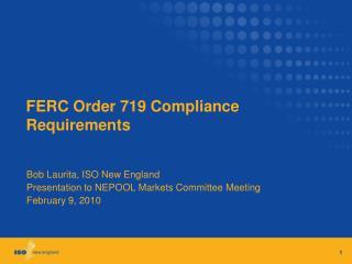 FERC Order 719 Compliance Requirements
