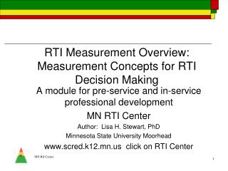 RTI Measurement Overview:  Measurement Concepts for RTI Decision Making