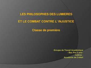 Groupe de Travail Acad mique  - Bac Pro 3 ans   - Lettres -  Acad mie de Cr teil