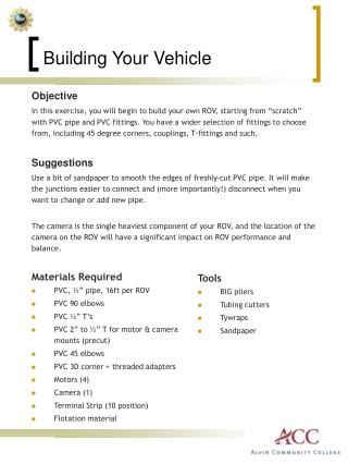 Building Your Vehicle