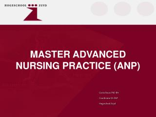 MASTER ADVANCED NURSING PRACTICE (ANP)