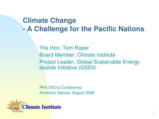 Climate Change - A Challenge for the Pacific Nations