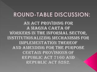 ROUND-TABLE DISCUSSION: