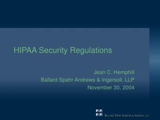 HIPAA Security Regulations