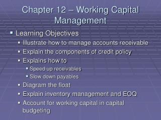 Chapter 12   Working Capital Management