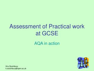 Assessment of Practical work at GCSE