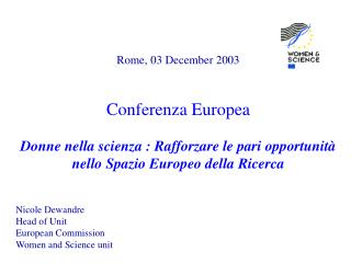 Rome, 03 December 2003 Conferenza Europea
