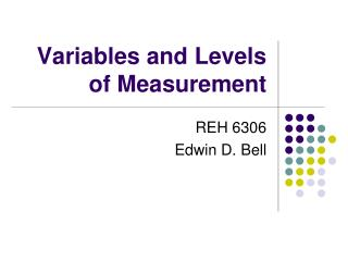 Variables and Levels of Measurement