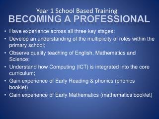 Year 1 School Based Training