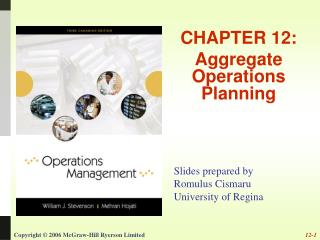CHAPTER 12: Aggregate Operations Planning