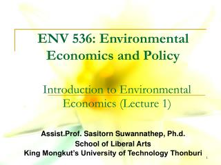 ENV 536: Environmental Economics and Policy