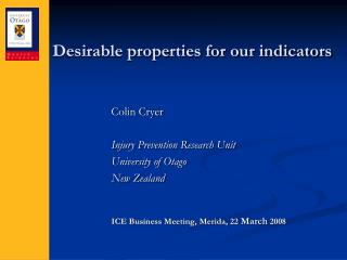Desirable properties for our indicators