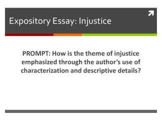 Expository Essay: Injustice