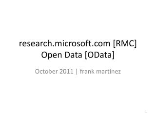 research.microsoft [RMC]  Open Data [ OData ]