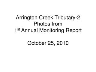 Arrington Creek Tributary-2 Photos from  1 st  Annual Monitoring Report October 25, 2010