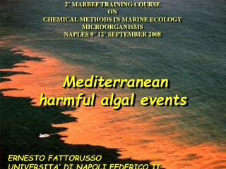 2° MARBEF TRAINING COURSE ON CHEMICAL METHODS IN MARINE ECOLOGY MICROORGANISMS