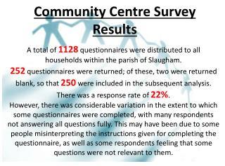 Community Centre Survey Results