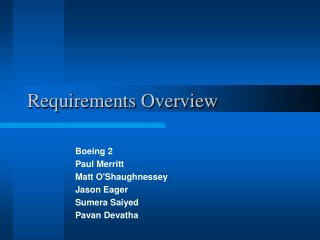 Requirements Overview