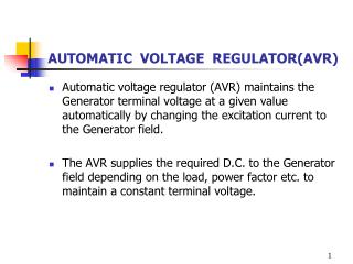 AUTOMATIC  VOLTAGE  REGULATOR(AVR)