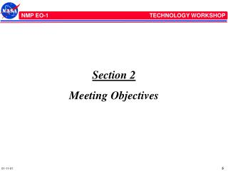 Section 2 Meeting Objectives