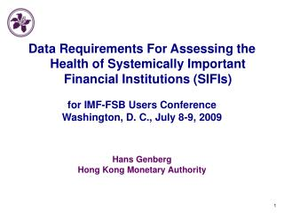 Hans Genberg Hong Kong Monetary Authority