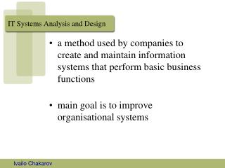 IT Systems Analysis and Design