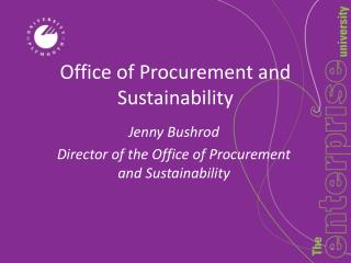 Office of Procurement and Sustainability