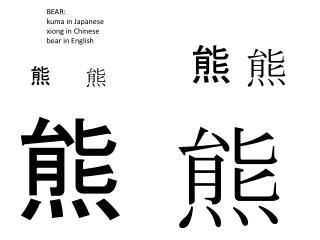 BEAR:   kuma  in Japanese xiong  in Chinese bear in English
