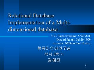 Relational Database Implementation of a Multi-dimensional database
