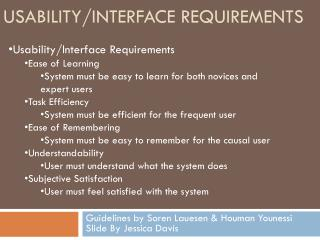Usability/interface Requirements