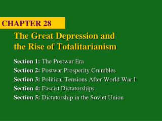 The Great Depression and  the Rise of Totalitarianism