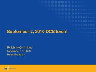 September 2, 2010 DCS Event