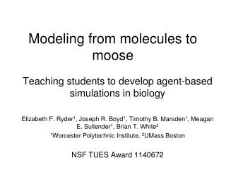 Modeling from molecules to moose