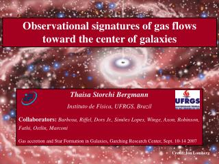 Observational signatures of gas flows toward the center of galaxies