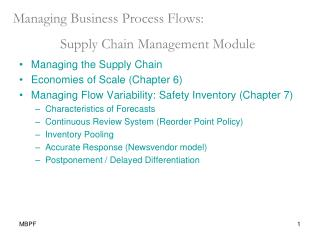Managing Business Process Flows: Supply Chain Management Module