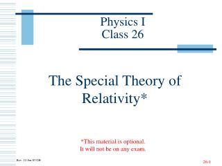 Physics I Class 26