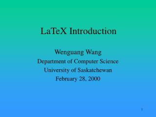 LaTeX Introduction