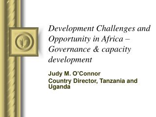 Development Challenges and Opportunity in Africa   Governance  capacity development