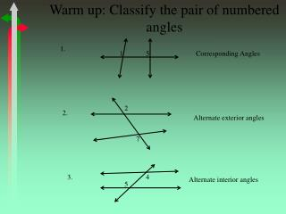 Warm up: Classify the pair of numbered angles