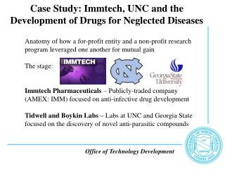 Case Study: Immtech, UNC and the Development of Drugs for Neglected Diseases
