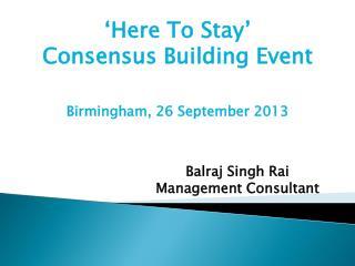 Balraj Singh Rai Management Consultant
